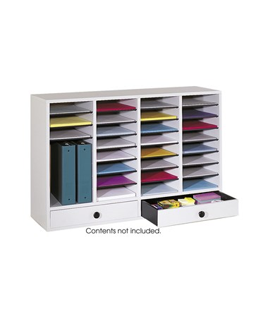 Safco Wood Adjustable Literature Organizer, 32 Compartments with 2 Drawers SAF9494GR