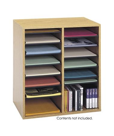 Safco Wood Adjustable Medium Oak Literature Organizer, 16 Compartments SAF9422MO