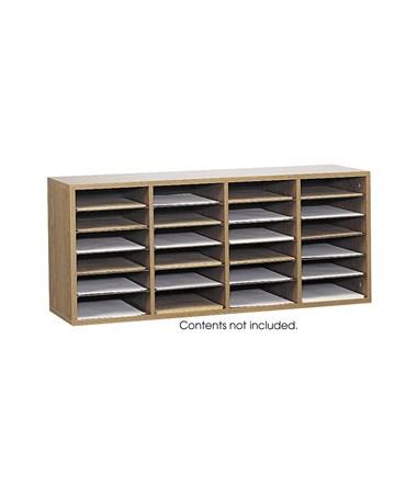 Safco Wood Adjustable Medium Oak Literature Organizer, 24 Compartments SAF9423MO
