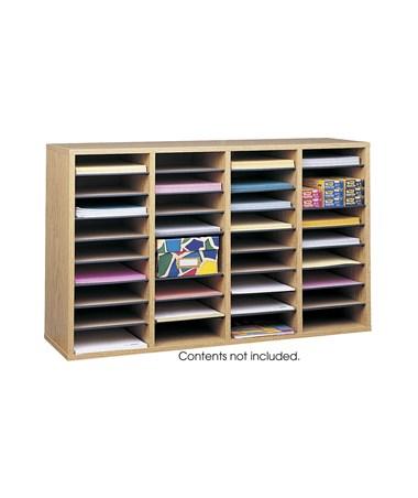 Safco Wood Adjustable Medium Oak Literature Organizer, 36 Compartments SAF9424MO