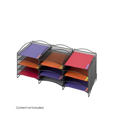 SAFCO9430BL-Onyx™ 12 Compartment Mesh Literature Organizer Black SAF9430BL