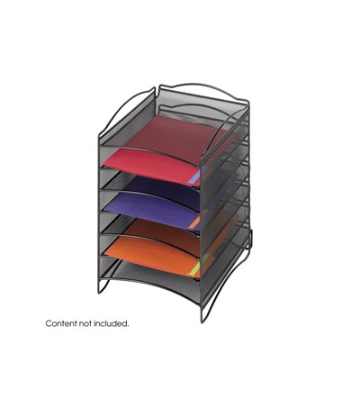 SAFCO9431BL-Onyx™ 6 Compartment Mesh Literature Organizer Black SAF9431BL
