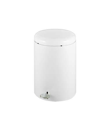 Safco Round Step-On Receptacle, 4-Gallon, White SAF9681WH-