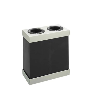 Safco At-Your-Disposal Recycling Center Waste Receptacle, Double Bin, 56 Gallon SAF9794BL