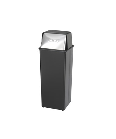 Safco Reflections Push Top Receptacle, 21 Gallons, Black SAF9893-