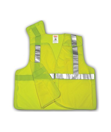 "ANSI 107 CLASS 2 SAFETY VESTS - Fluorescent Yellow-Green - Mesh - 2"" Reflective Tape - 5 Pt Breakaway TINV70522"