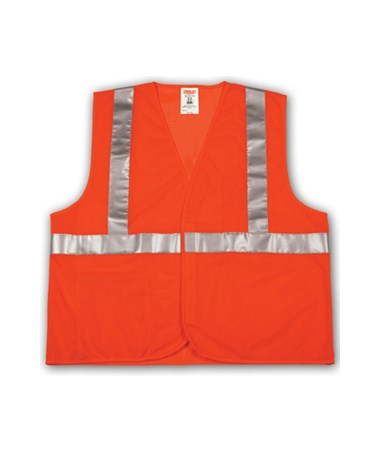 "ANSI 107 CLASS 2 SAFETY VESTS - Fluorescent Orange-Red Mesh - 2"" Reflective Tape- Hook&Loop Closure TINV70629"