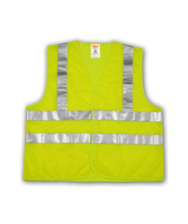 "ANSI 107 CLASS 2 SAFETY VESTS - Fluorescent Yellow-Green - Mesh - 2"" Horizontal Reflective Stripes TINV70722"
