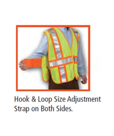Hook & Loop sides adjustment straps for the high visibility adjustable vests