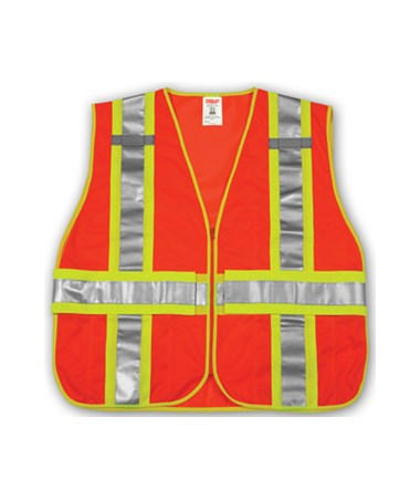 ANSI 107 CLASS 2 SAFETY VESTS - Fluorescent Orange-Red Mesh Two-Tone - Reflective H Pattern- 2 Mic Tabs TINV70839