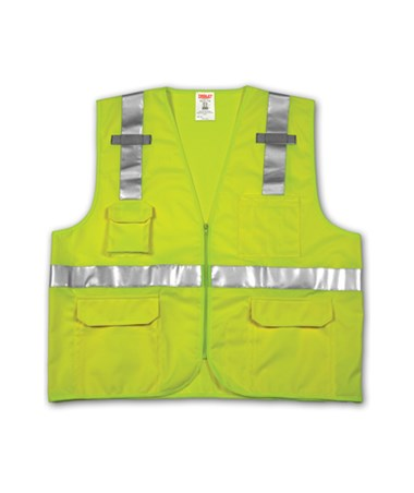 ANSI 107 CLASS 2 SAFETY VESTS - Fluorescent Yellow-Green Solid/Mesh - Reflective H Pattern - 2 Mic Tabs TINV73832