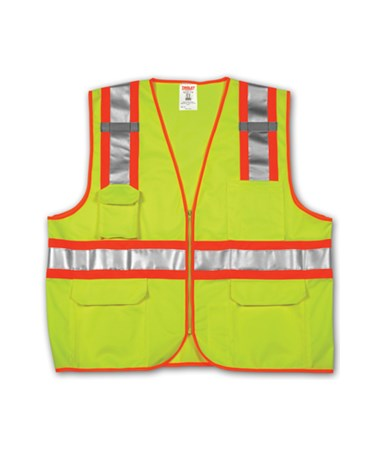 ANSI 107 CLASS 2 SAFETY VESTS - Fluorescent Yellow-Green Solid/Mesh Two-Tone - H Pattern - 2 Mic Tabs TINV73852