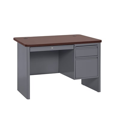 Single Pedestal - Charcoal with Mahogany Top
