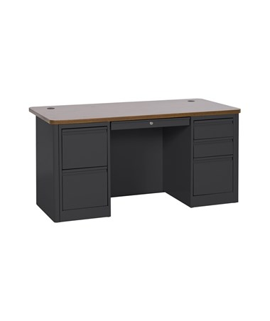 Double Pedestal - Black with Medium Oak Top