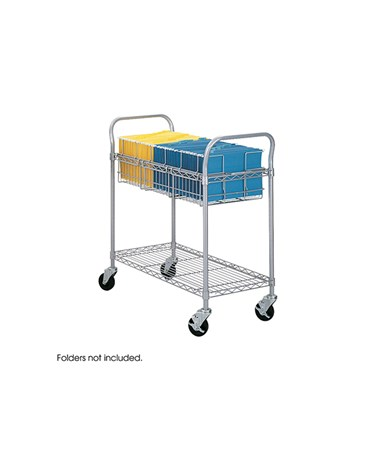 "SAFCO5236GR-Wire Mail Cart, 36""W Gray SAF 5236GR"