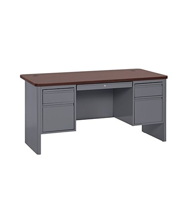 Double Pedestal - Charcoal with Mahogany Top