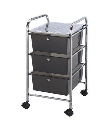 Blue Hills Studio 3 Drawer Storage Cart Dark Gray SC3SM