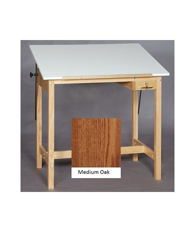 SMI Pacific Medium Oak Four Post Drawing Table M2436 30A
