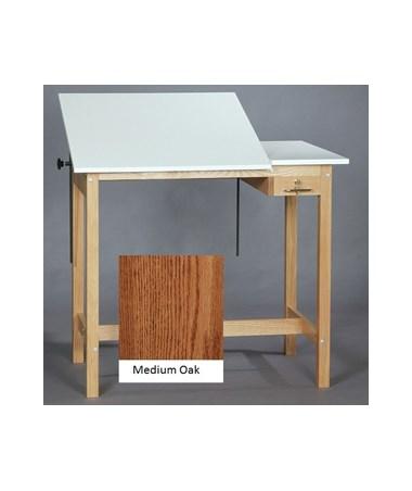 SMI Pacific Split Top Drawing Table Medium Oak M2436 30STA
