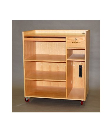 """SMI Mobile Computer Cabinet, 43""""H, Double Shelf with Extra Storage CCM43"""