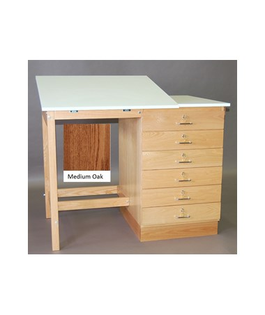 SMI Split Top 6 Drawer Drafting Table Medium Oak F4832 SST