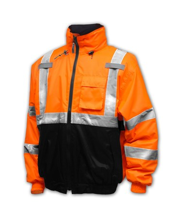 "ANSI 107 Class 3 BOMBER II - POLYURETHANE ON 210 DENIER WOVEN POLYESTER - QUILTED LINERFluorescent Yellow-Green and Black Quilted Waterproof Jacket with2"" Silver Reflective TapeFluorescent Orange-Red and Black Quilted Waterproof Jacket with TINJ26"