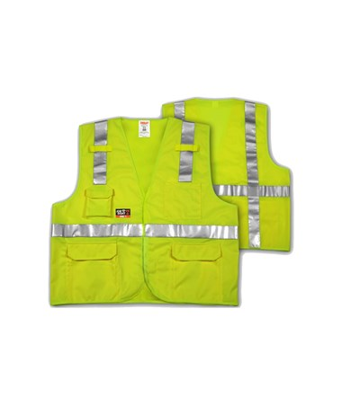 ANSI 107 CLASS 2 & ASTM F1506 FR SAFETY VESTS - Fluorescent Yellow-Green FR Solid - FR Reflective H Pattern - 2 Mic Tabs TINV81832